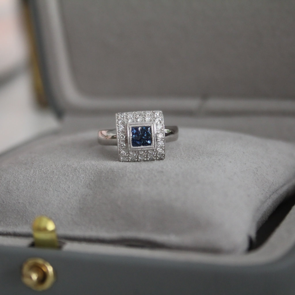 Joulberry Art Deco Square Sapphire and Diamond Cluster Ring