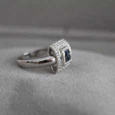 Vogue Sapphire and Diamond Art Deco Ring