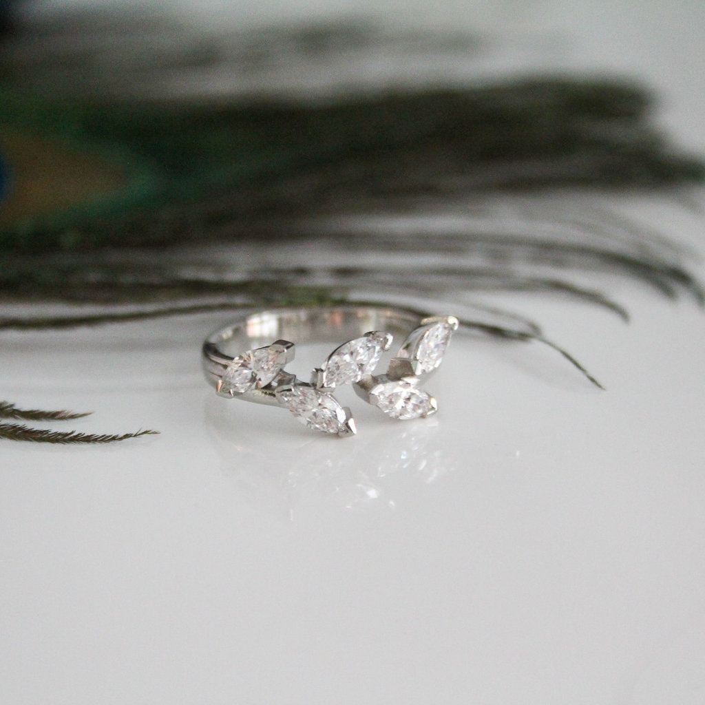 Platinum Marquise Diamond Leaf Ring