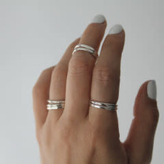 Silver Textured Stacking Ring