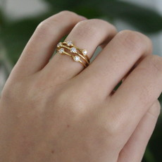 BARDOT Gold Diamond Bobble Ring