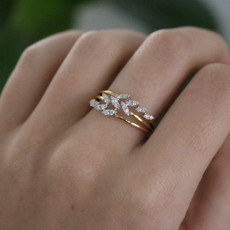 Joulberry Vogue Gold Diamond Willow Ring
