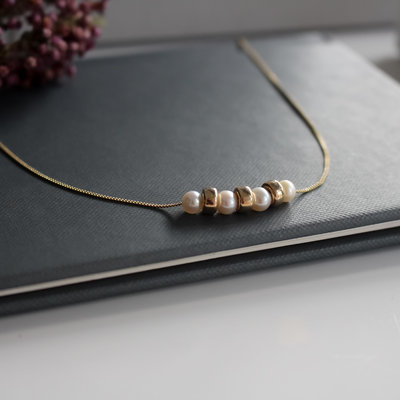 Joulberry Gold Pearl Cluster Necklace