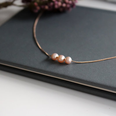 Joulberry Rose Gold Pearl Cluster Necklace
