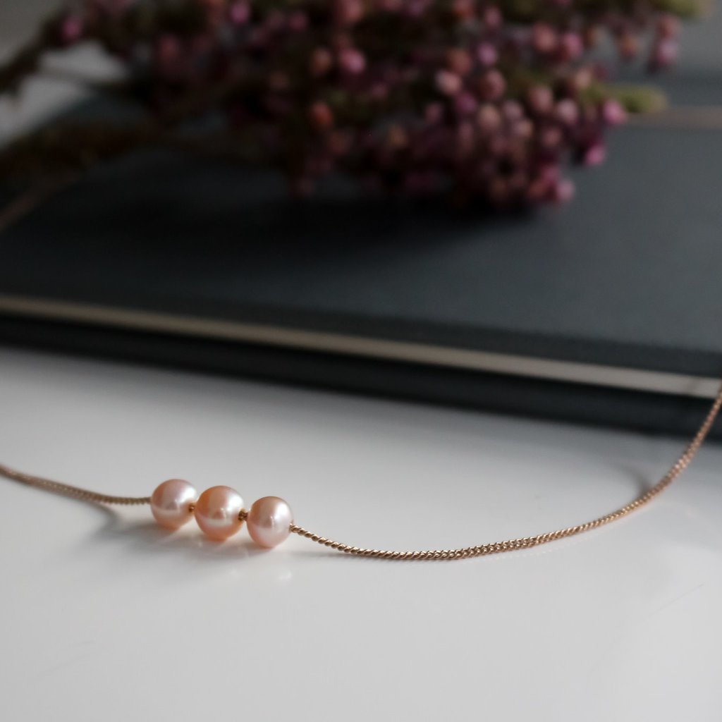 Rose Gold Pearl Cluster Necklace