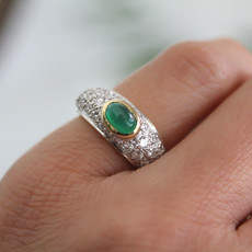 BARDOT Gold Emerald and Diamond Ring