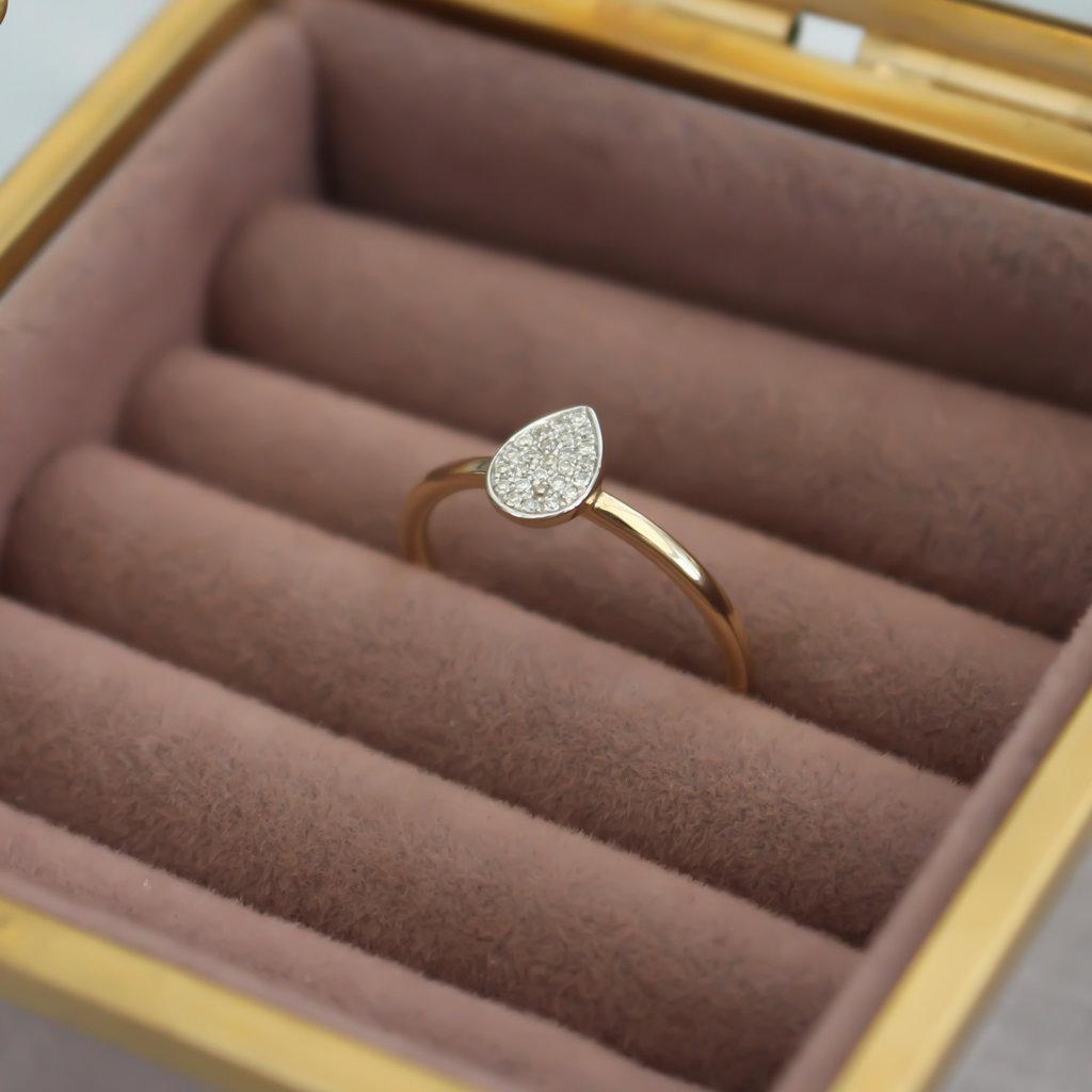 Gold Monique Teardrop Diamond Ring