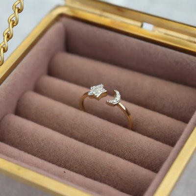 LUNAR Gold Moon and Star Diamond Ring