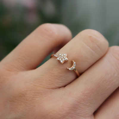 Rose Gold Moon and Star Diamond Ring