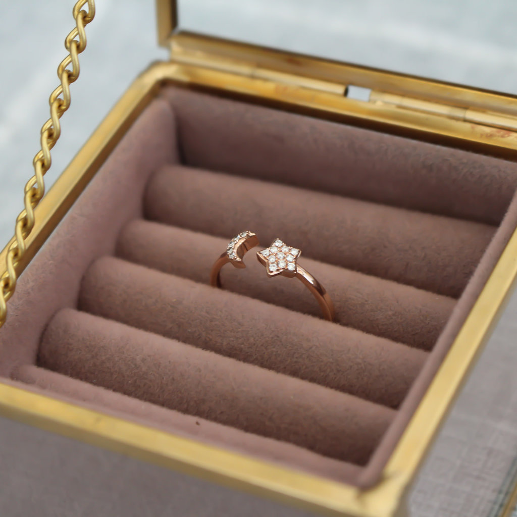 Joulberry Rose Gold Moon and Star Diamond Ring