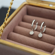 MONROE White Gold Diamond Cluster Drop Hoops