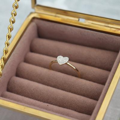 Joulberry Gold Monique Diamond Heart Ring