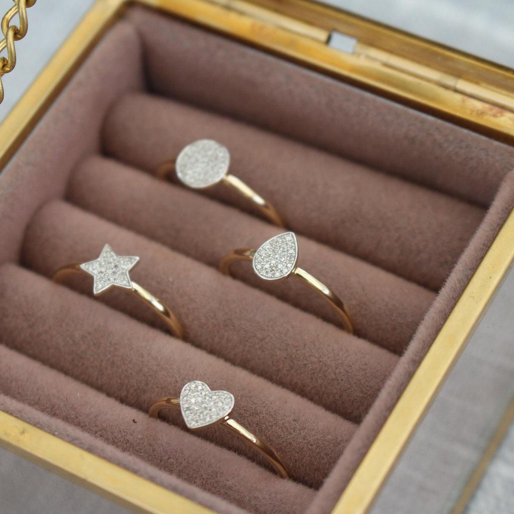 Gold Monique Diamond Heart Ring