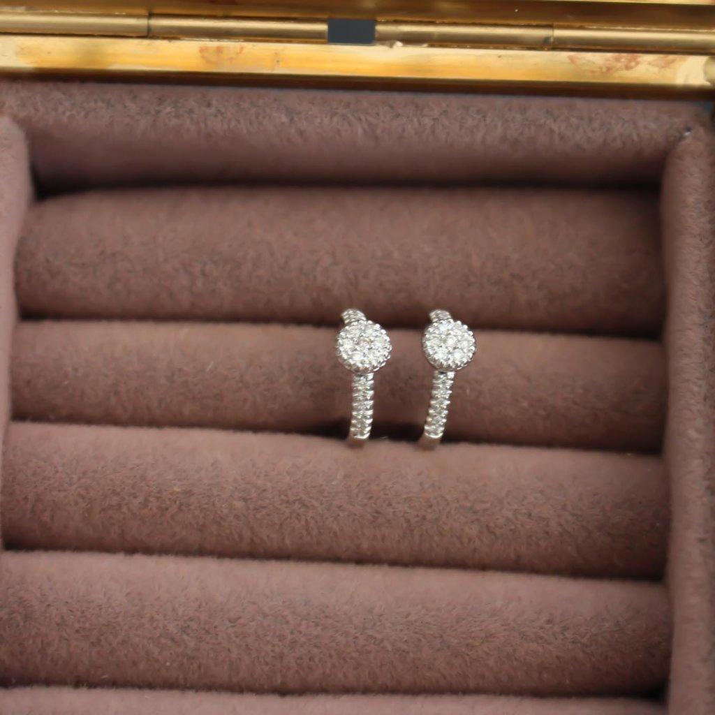 MONROE White Gold Diamond Cluster Hoop Earrings