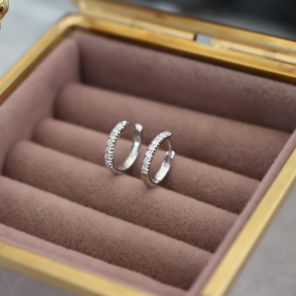 Monroe White Gold Diamond Fluted Hoop Earrings