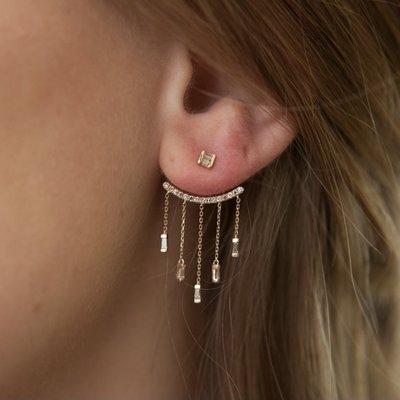 Gold Diamond Chandelier Earrings
