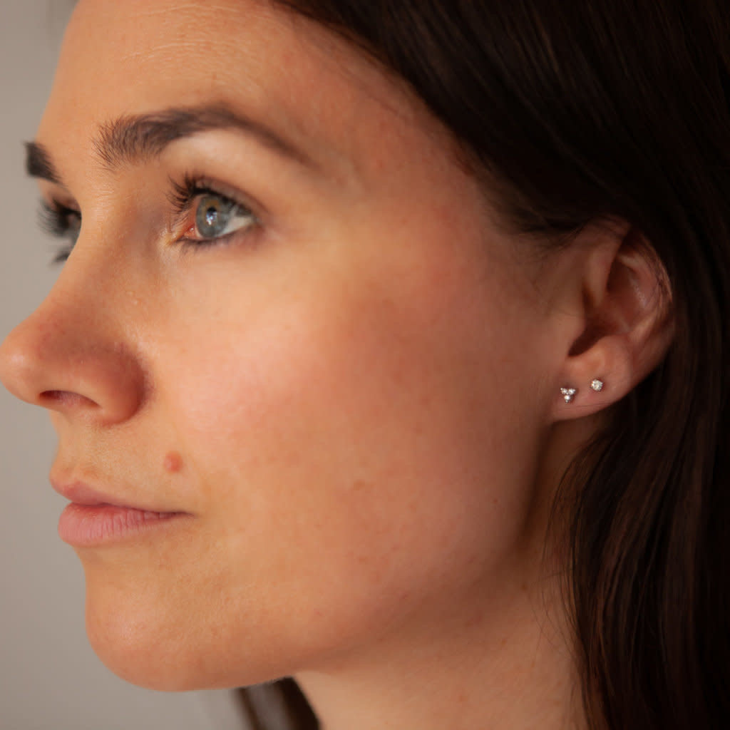 BLOSSOM Gold Tri Diamond Earrings