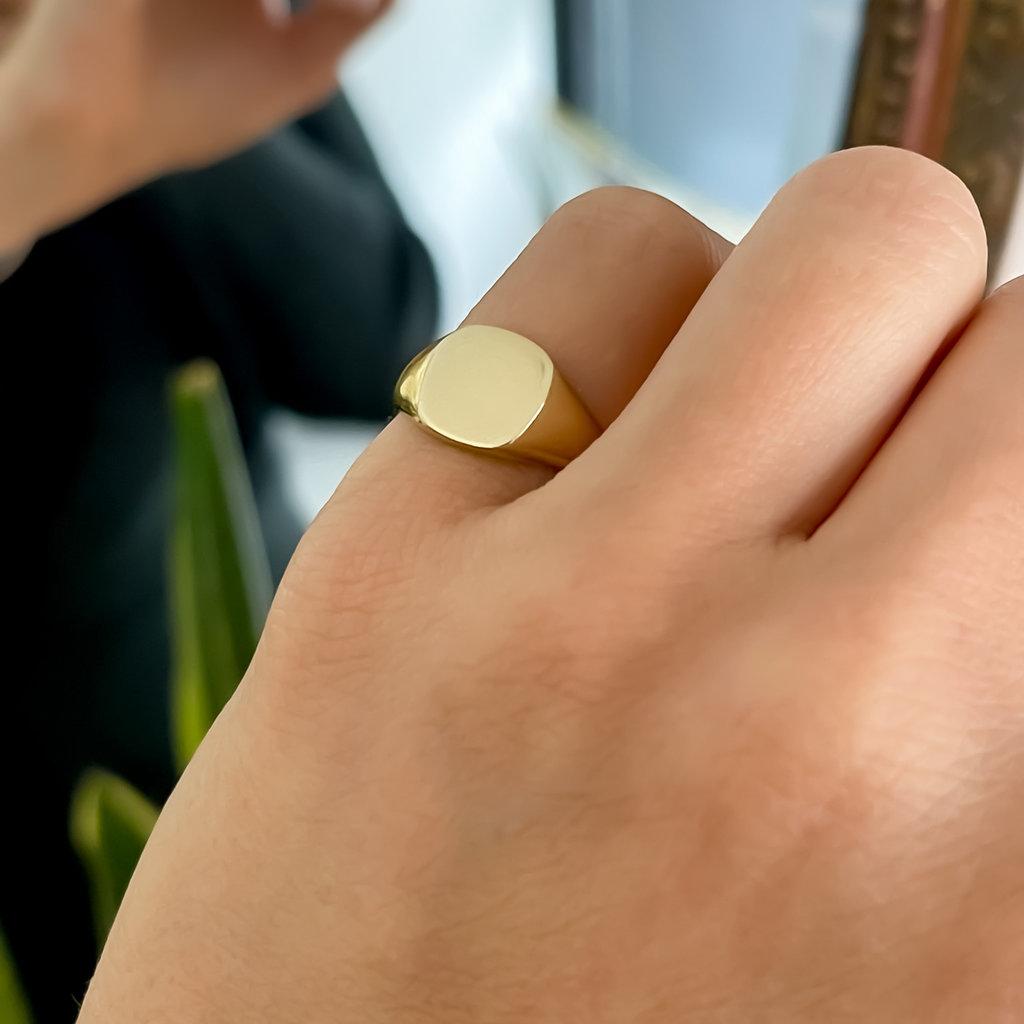 Gold Petite Cushion Signet Ring