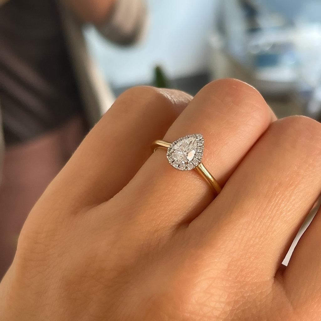 CASSIDY Gold Pear Diamond Halo Ring