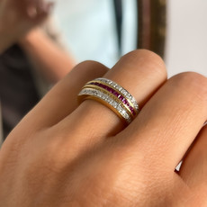 TATE Gold Marina Ruby and Diamond Ring