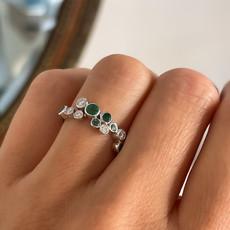 DAISY White Gold Emerald & Diamond Moet Ring