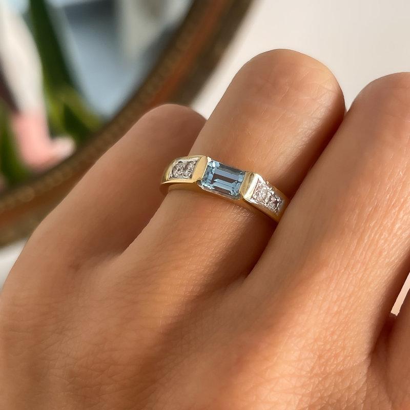BOHO Gold Aquamarine & Diamond Eowyn Ring