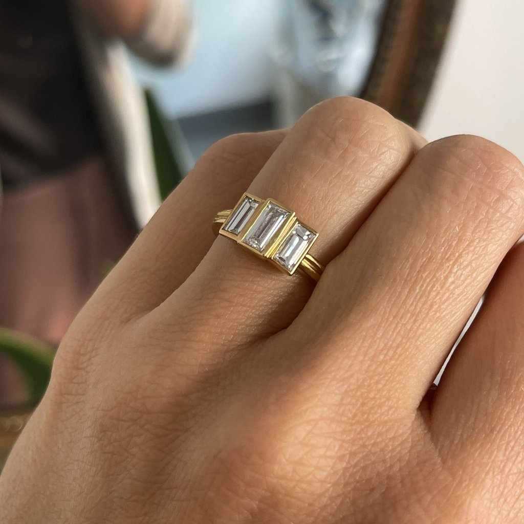 TATE Gold Baguette Diamond Lusardi Ring