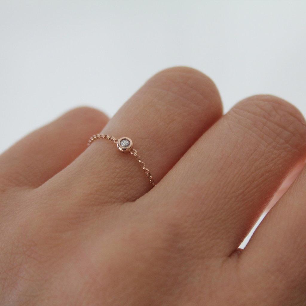 DAISY Rose Gold North Star Diamond Chain Ring