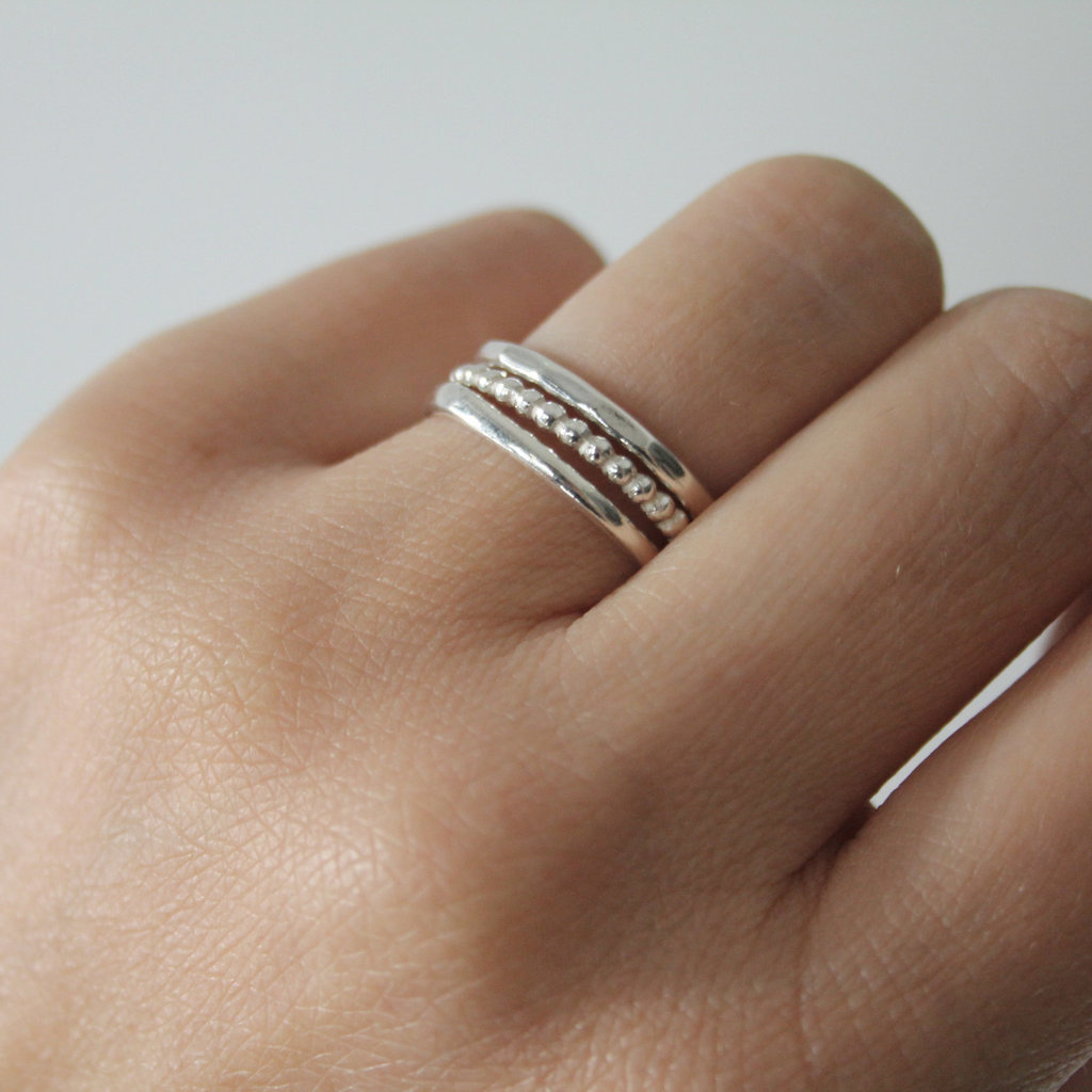 DAISY Silver Textured Stacking Ring