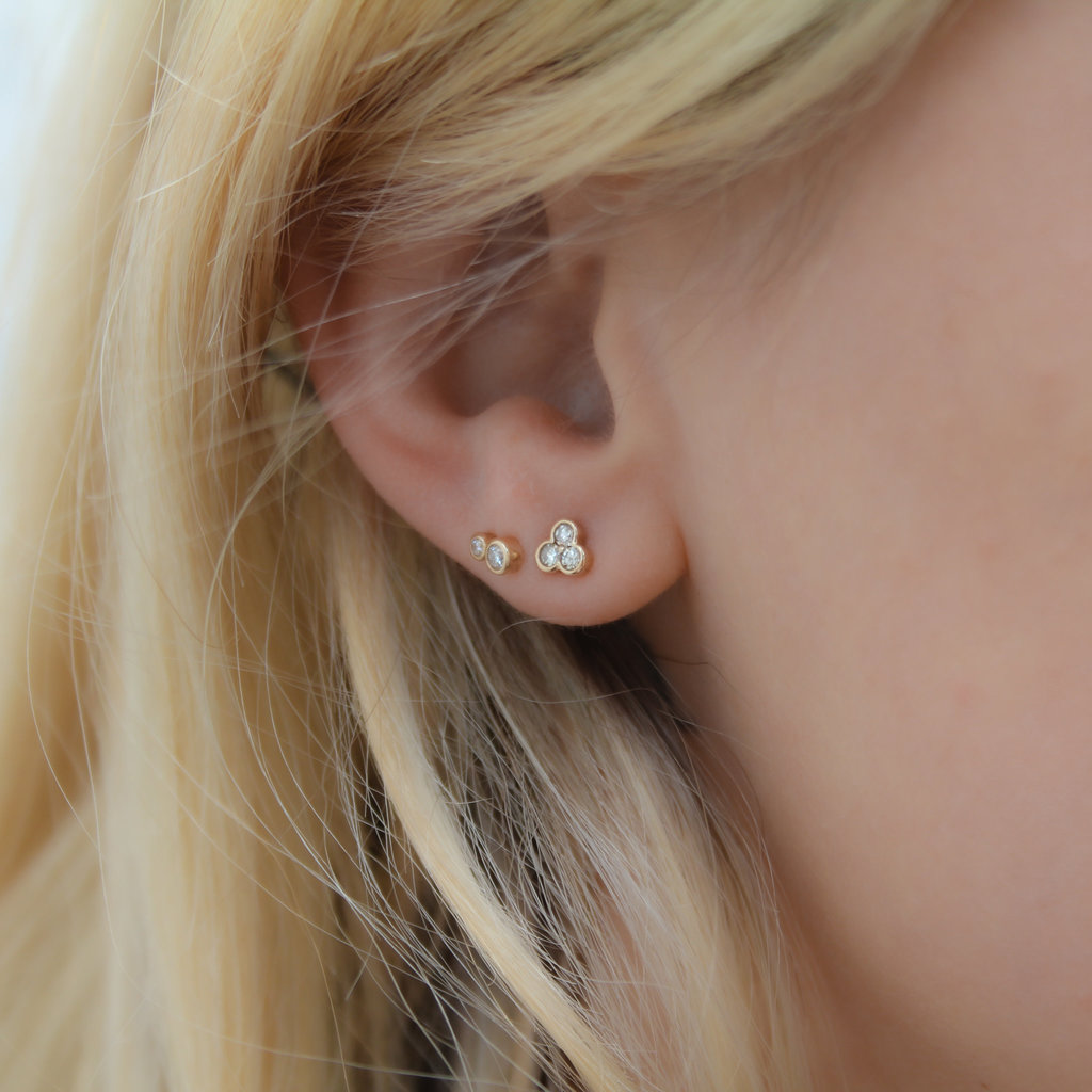 DAISY Gold Ivy Tri Diamond Earrings