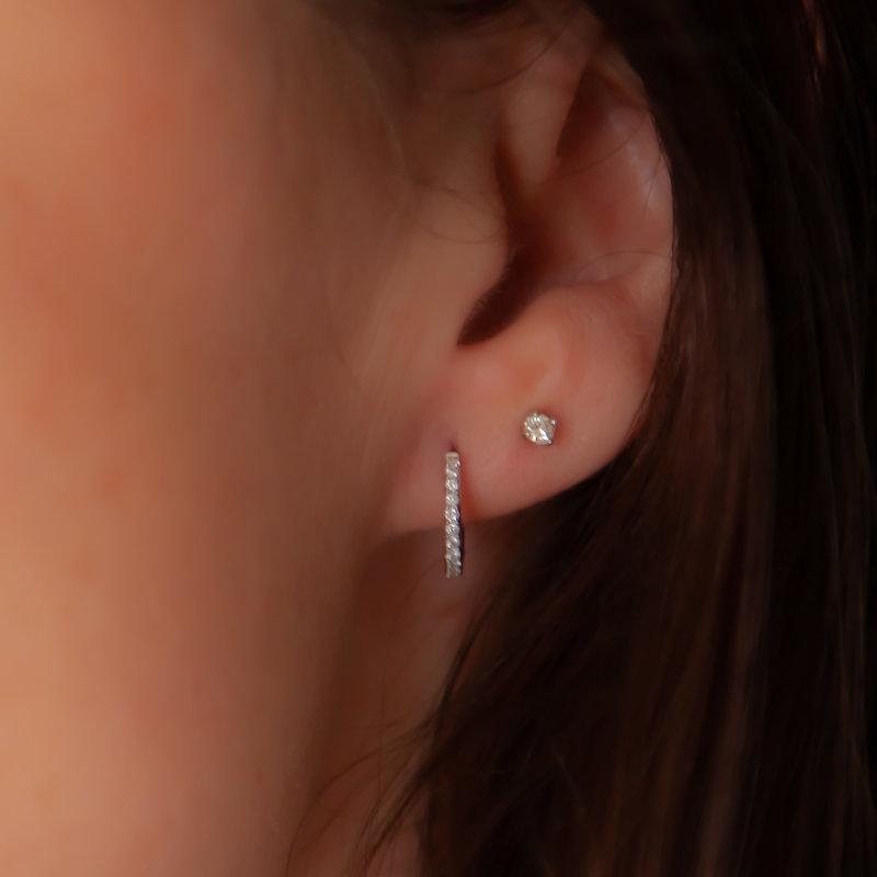 DAISY White Gold Diamond Midi Hoop Earrings