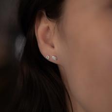 Silver Button Silhouette  Star Earrings