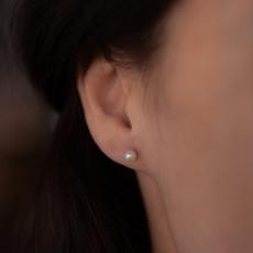 GATSBY Gold Petite White Freshwater Pearl Earrings