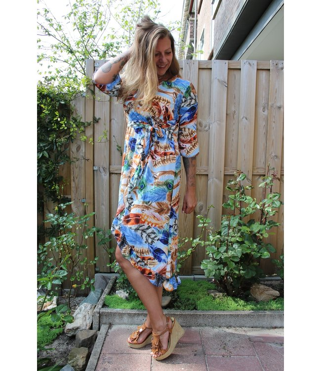 New Collection Tropical feather dress blauw