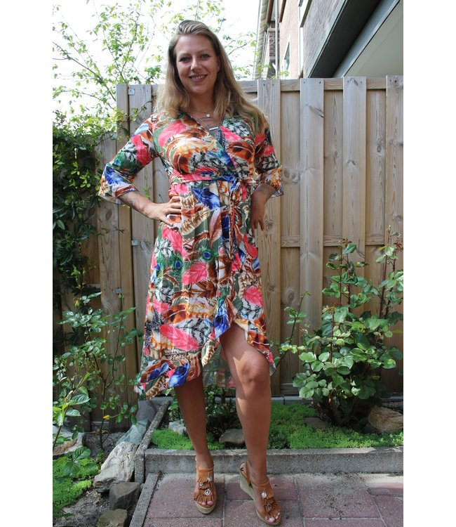 New Collection Tropical feather dress groen