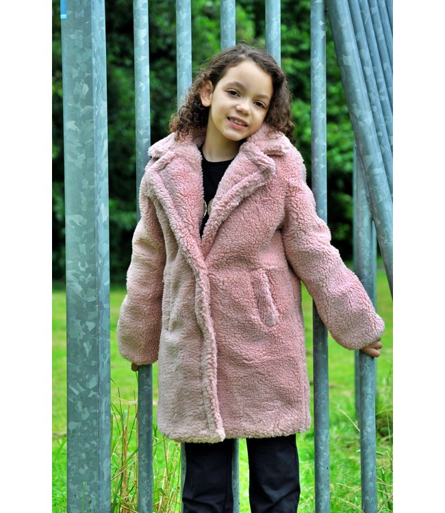 Kids Star Teddy coat roze