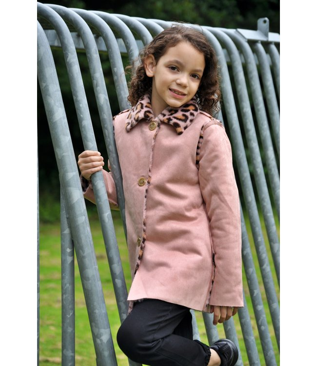 Zero Jeans Reversible Lammy coat roze