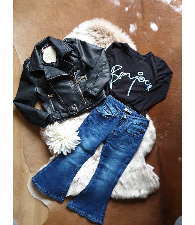 Kids Star Biker jacket Rosalie zwart