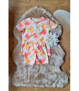 Tie Dye set roze/oranje