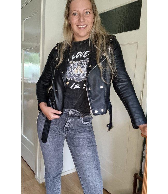 Drole de copine PU biker jacket black