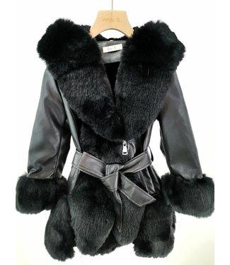 YoyoS Fake fur Fab coat black