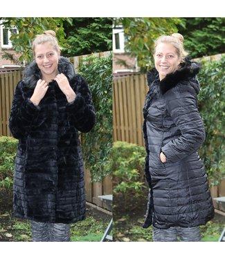 Reversible fake fur coat