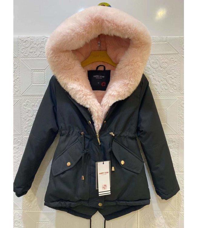 Winterjas zwart/roze