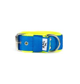 MAG MAG halsband met fleece blauw / neon geel