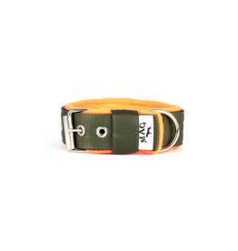 MAG MAG halsband met fleece legergroen/neon oranje