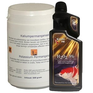 Kinshi Kaliumpermanganaat 450 gr + Waterstofperoxide 3% 1000 ml