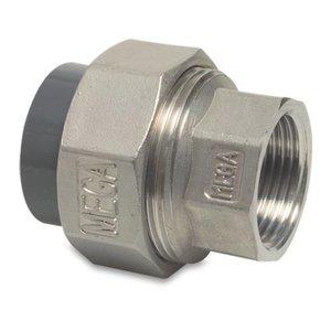 """Overgangs koppeling RVS naar PVC - 40 mm - 1¼"""" binnendr."""
