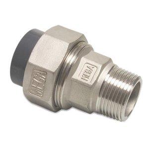 """Overgangs koppeling RVS naar PVC - 40 mm - 1¼"""" buitendr."""