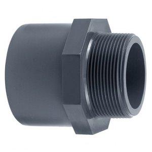 "Effast PVC Puntstuk 50 mm x 63 mm  x 1 1/2"" buitendraad"