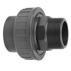 PVC 3/3 koppeling met buitendraad 2 x 2 inch lijmverbinding